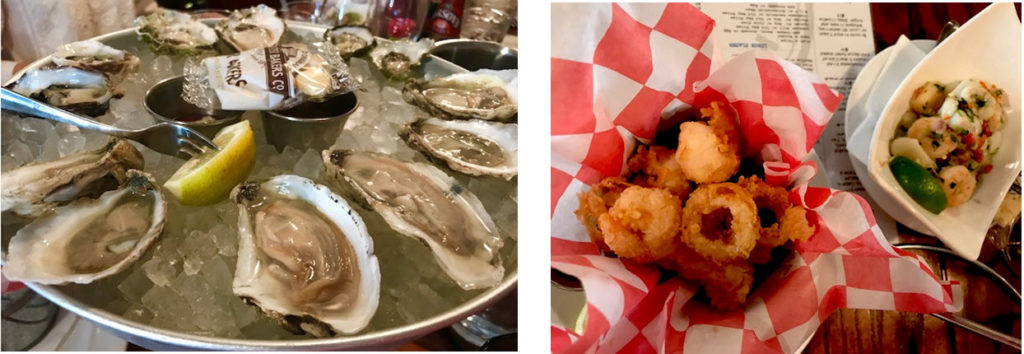 (l-r) Assortment of local oysters ~ Fried scallops and calamari and shrimp seviche