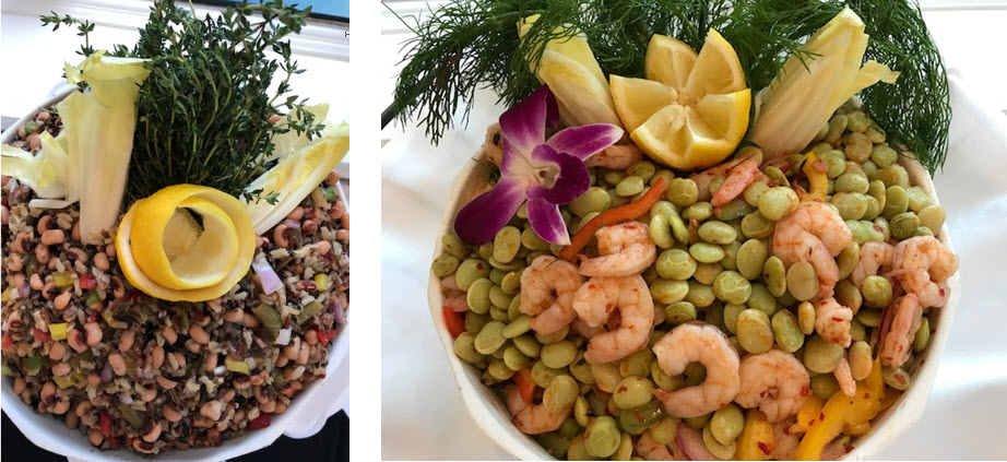(l-r) Black-eyed pea and rice salad ~ Low country shrimp topped succotash at the Belmond