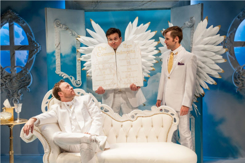 Tom Story (God), Jamie Smithson (Gabriel) and Evan Casey (Michael). Photo by Margot Schulman.
