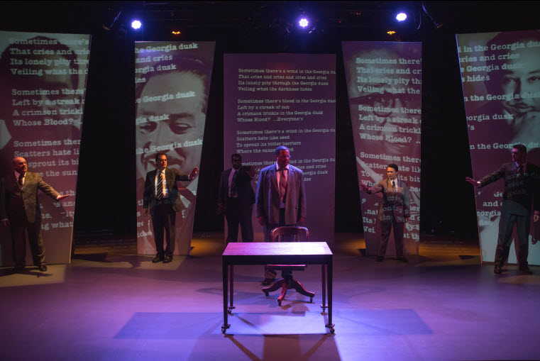 (l-r) Michael Sharp, Russell Sunday, Josh Thomas, Marcus Naylor as Langston Hughes, Marni Penning, Wood Van Meter