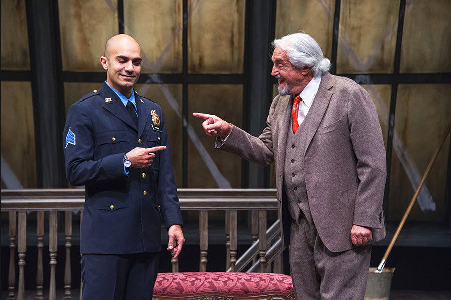 (L to R) Maboud Ebrahimzadeh as Victor Franz and Hal Linden as Gregory Solomon. Photo by Colin Hovde.