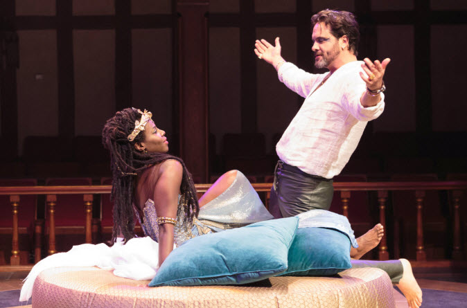 A moment of flirtatious play between Mark Antony (Cody Nickell) and his Cleopatra (Shirine Babb). Photo by Teresa Wood.