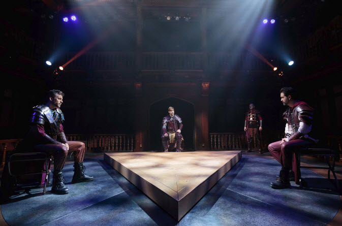 A meeting of Rome's leaders, the triumvirate. Pictured left to right: Robbie Gay (Lepidus), Dylan Paul (Octavius Caesar), Cody Nickell (Mark Antony), with Chris Genebach (Agrippa) looking on the proceeding. Photo by Teresa Wood.