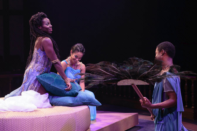 Mardian (John Floyd) and Charmian (Simoné Elizabeth Bart) tend to their Queen of Egypt, Cleopatra (Shirine Babb) in Antony and Cleopatra. Photo by Teresa Wood.