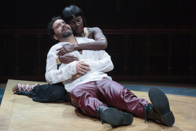 Cleopatra (Shirine Babb) gives comfort to her dying Mark Antony (Cody Nickell) . Photo by Teresa Wood.