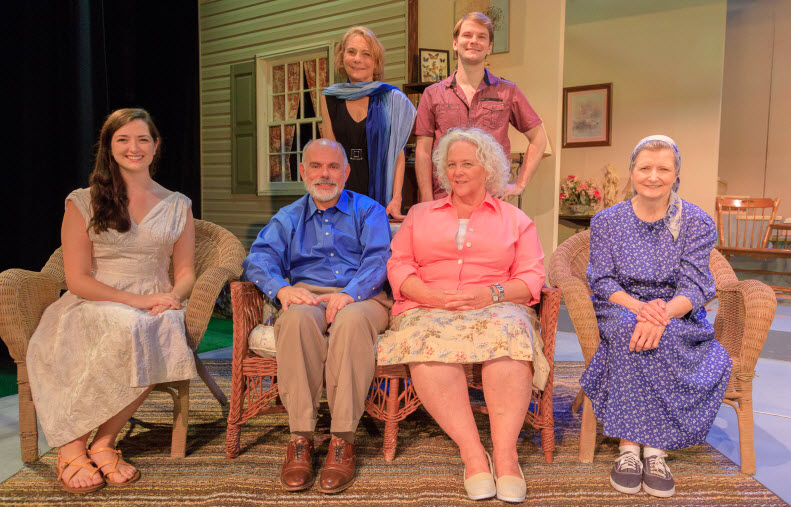 : (Back) Carol Preston as Masha, John Paul Odle as Spike, (Front) Hannah-Lee Grothaus as Nina, Mario Font as Vanya, Lorraine Bouchard as Sonia and Marilyn Pifer as Cassandra ~ Photos by: Keith Waters