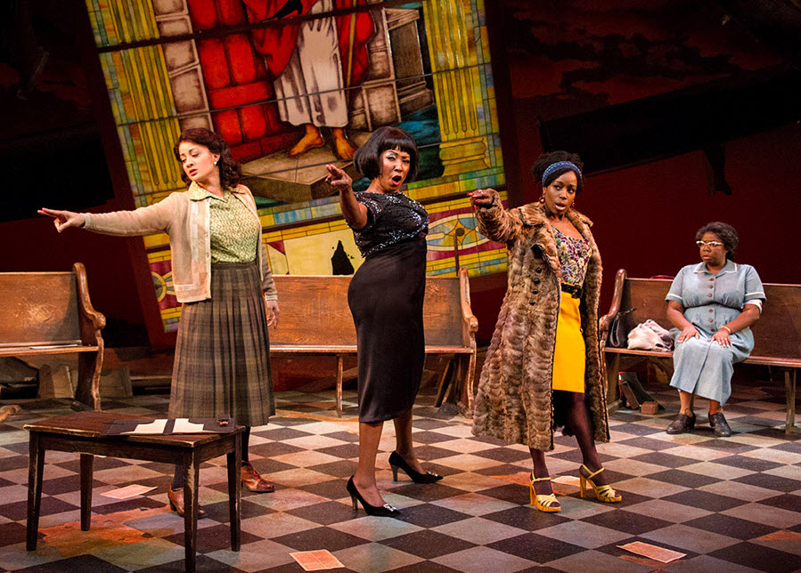 (L to R) Toni L. Martin (Sephronia), Harriett D. Foy (Nina Simone), Felicia Curry (Sweet Thing) and Theresa Cunningham (Sarah) in Nina Simone: Four Women. Photo by C. Stanley Photography.