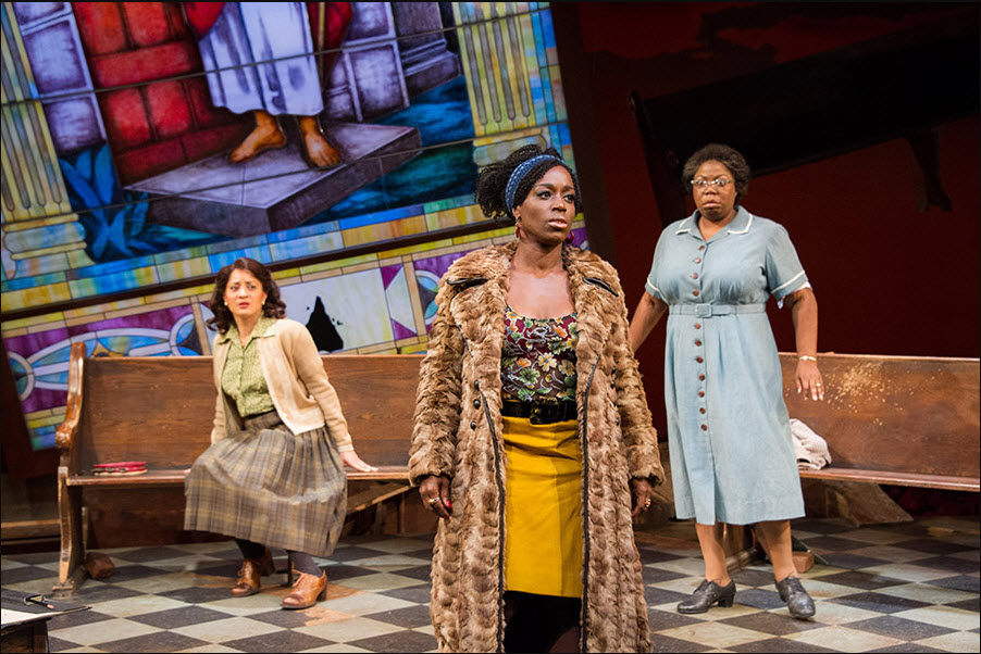 (L to R) Toni L. Martin (Sephronia), Felicia Curry (Sweet Thing) and Theresa Cunningham (Sarah) in Nina Simone: Four Women. Photo by C. Stanley Photography.