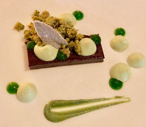 The 'Marchesi' chocolate and pistachio dessert at Fiola Mare