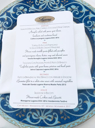 The Lugana wines pairing menu at Café Milano