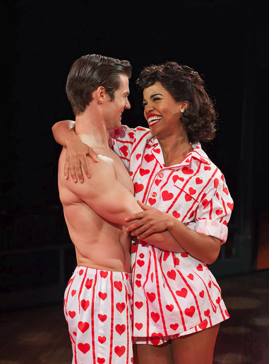 (L-R) Tim Rogan (Sid Sorokin) and Britney Coleman (Babe Williams) in The Pajama Game. Photo by Margot Schulman.