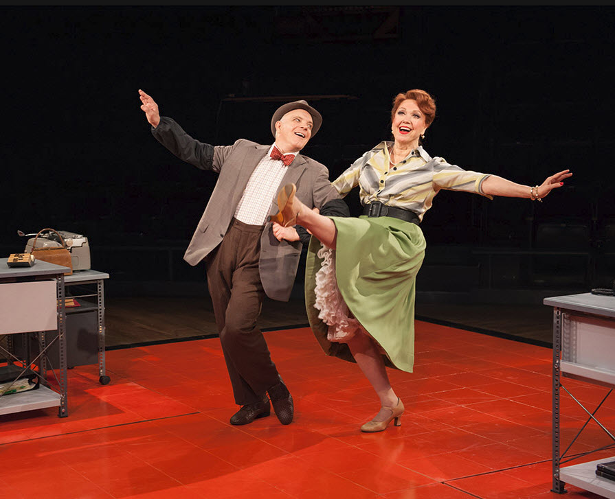 (L-R) Eddie Korbich (Hines) and Donna McKechnie (Mabel) in The Pajama Game. Photo by Margot Schulman