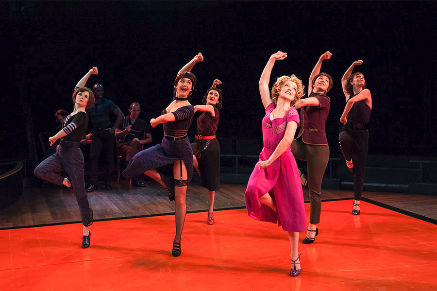(L-R) Bridget Riley (Doris), Casey Wenger-Schulman (Carmen), Alexandra Frohlinger (Sandra), Nancy Anderson (Gladys), Gabi Stapula (Mae) and Heidi Kershaw Quick (Virginia) in The Pajama Game. Photo by Margot Schulman.
