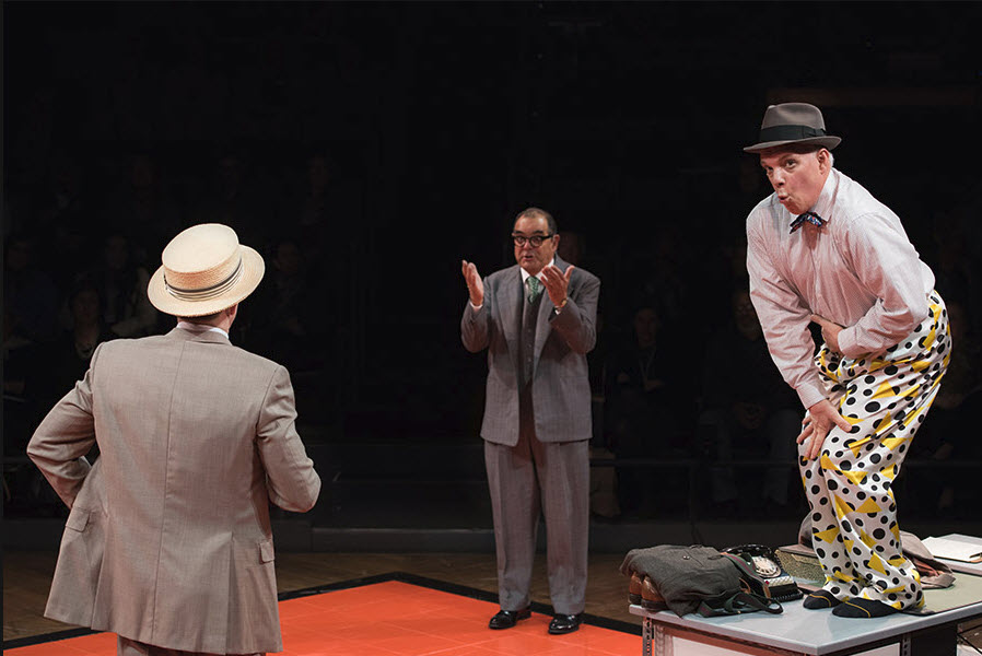 (L-R) Paul Scanlan (Salesman), Edward Gero (Hasler) and Eddie Korbich (Hines) in The Pajama Game. Photo by Margot Schulman.