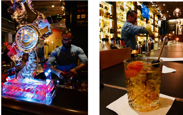 Preparing specialty cocktails at Crimson DC ~ A perfect Manhattan at Crimson DC's Whiskey Bar