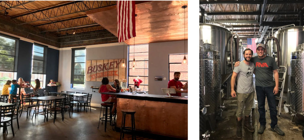 The tasting room at Buskey Hard Cider ~ Buskey Founder/Owner William Correll (Left)