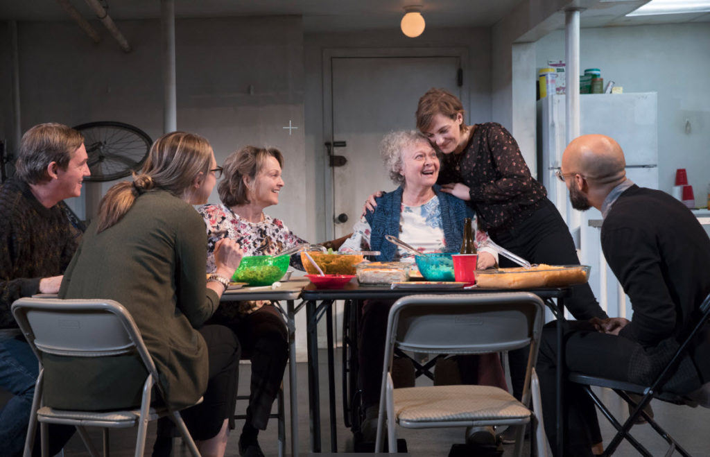 Richard Thomas, Therese Plaehn, Pamela Reed, Lauren Klein, Daisy Eagan, and Luis Veda in the national tour of The Humans. Photo by Julieta Cervantes